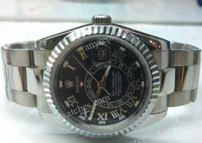ROLEX WATCH / SKY-DWELLER SS BLACK DIAL 42mm Replica
