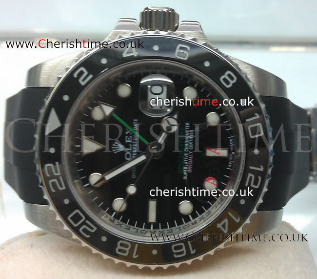 Copy Rolex GMT-Master II Black Rubber band Man Watch
