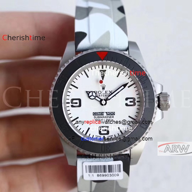 Clone Rolex White Dial Black Bezel Camo Strap Swiss Watch