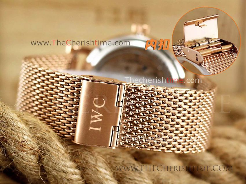 Fake IWC Portuguese Rose Gold White Dial Watch IWC Tourbillo
