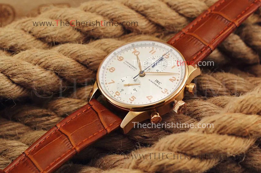 IWC Portuguese Rose Gold Replica Watch for sale White Face
