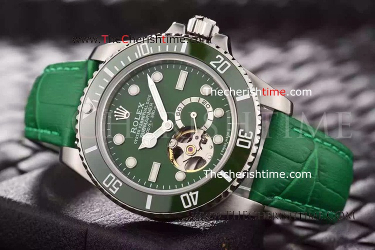 Rolex Oyster Submariner Tourbillon Green Leather Copy