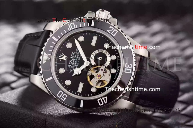 Rolex Oyster Submariner Tourbillon Black Leather Copy
