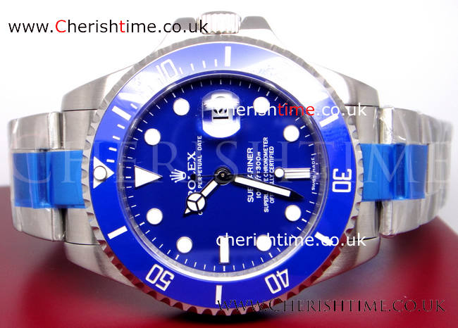 Extra Large Blue Dial Replica Rolex Submariner Watch
