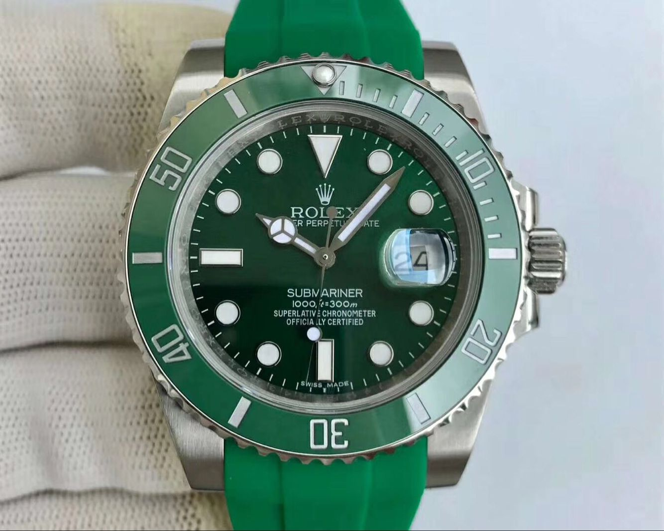 Copy Rolex Green Dial Green Bezel Green Rubber Band Swiss Watch