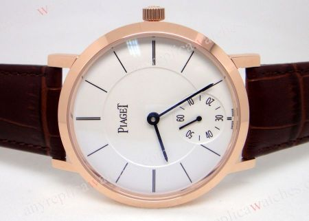 Piaget Self-wind Men's Watch / Rose Gold w/white / Brown leather