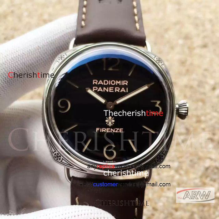 Replica Panerai Black Dial Brown Strap P.3000 Swiss Watch