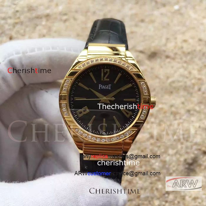 Copy Piaget Black Dial Gold Case 35mm Swiss Ladies Watch