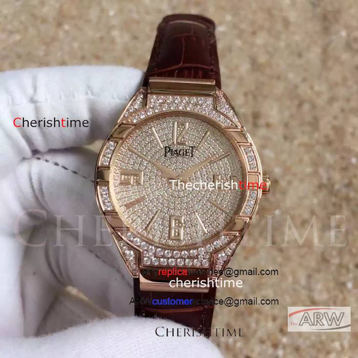 Copy Piaget Diamonds Dial Rose Gold Swiss Ladies Watch