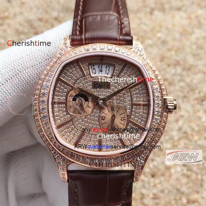 Fake Piaget Brown Band Diamonds Rose Gold Dial Swiss Watch