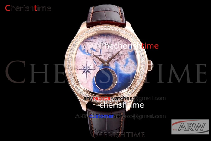 Copy Piaget World Map Dial Rose Gold Case Brown Band Swiss Watch