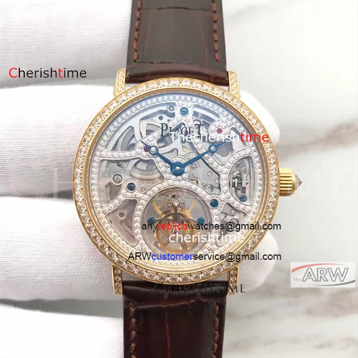 Copy Piaget Hollow Dial Diamond Gold Case Brown Band Watch