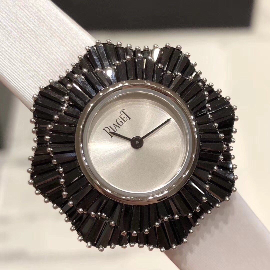 Copy Piaget White Dial Black Bezel White Band Ladies Watch