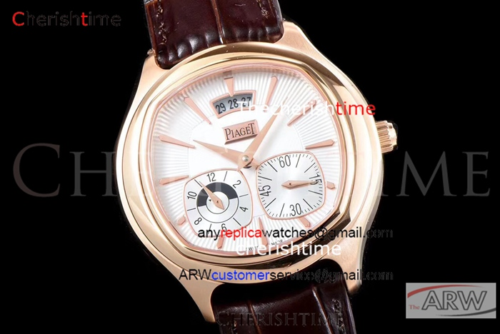 Copy Piaget White Dial Rose Gold Case Brown Band Swiss Watch
