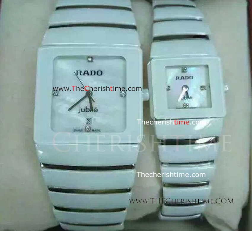 Rado Sintra Jubile Copy Watch Silver&White Ceramic Band