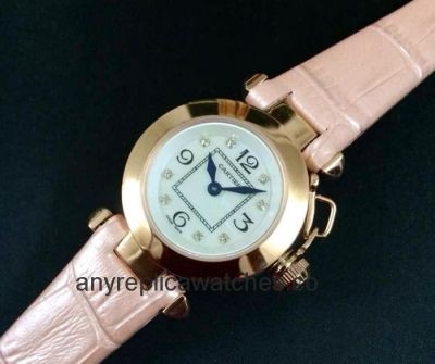 Replica Cartier Pasha Lady Watch SS Pink Leather