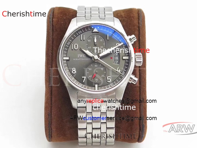 Replica IWC Gray Dial All Stainless Steel 43 mm Swiss Watch