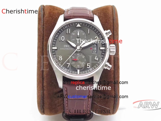 Replica IWC Gray Dial Brown Leather Strap 43 mm Swiss Watch