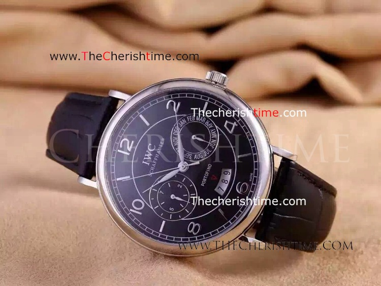 Replica IWC Portofino Watch Stainless Steel Black Face