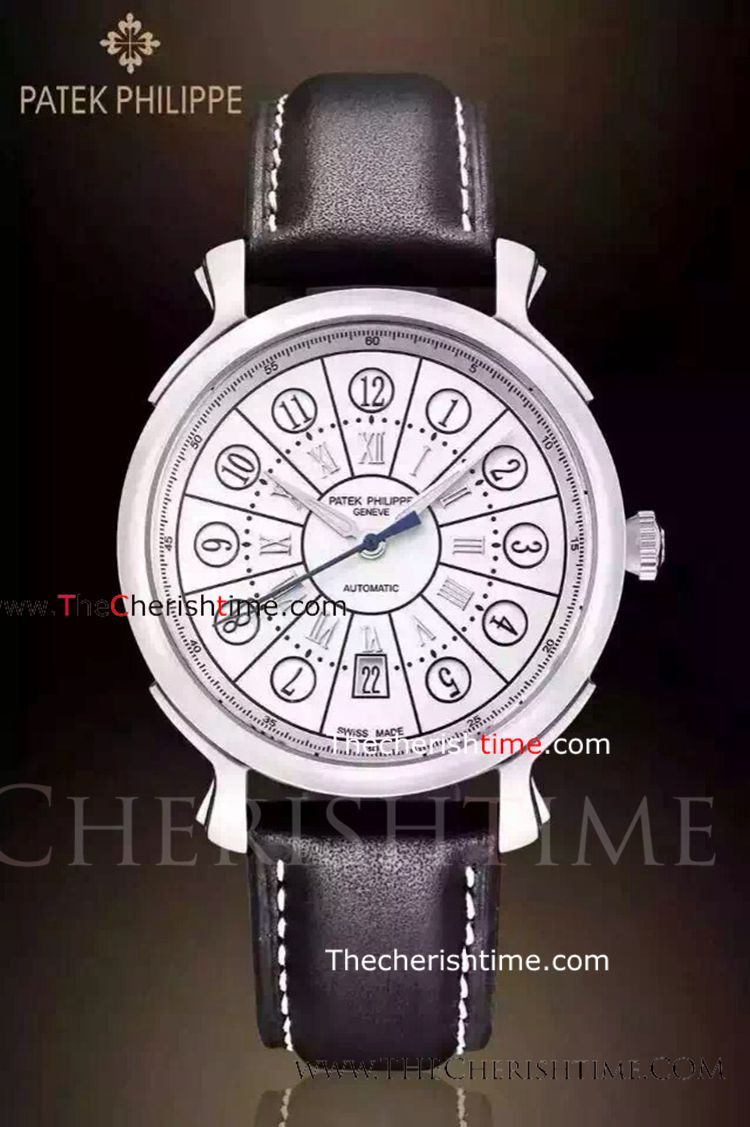 Replica Patek Philippe Geneve Stainless Steel White Dial Watch