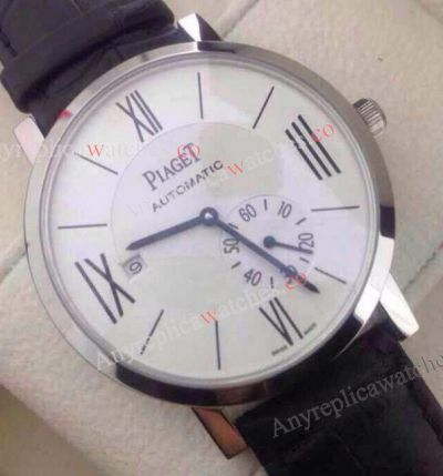 Replica Piaget Watch / White face Black Leather Strap