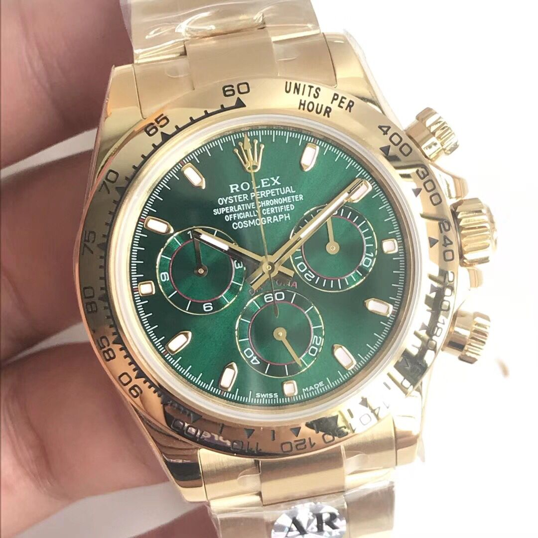 Copy Rolex All Gold Case Green Dial Gold Strap Watch
