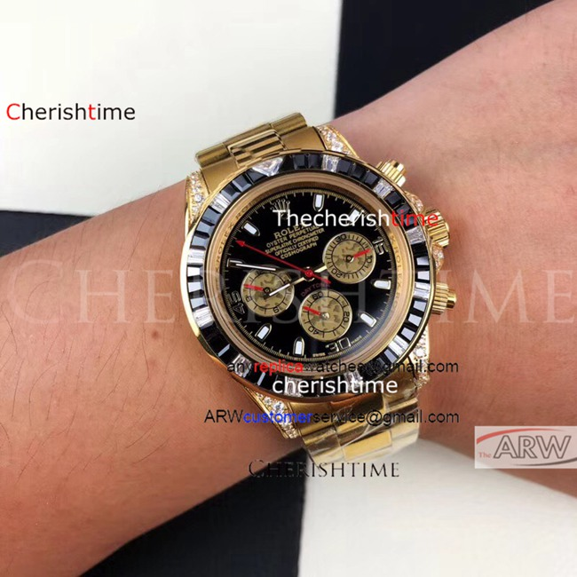 Replica Rolex Black Dial Diamonds Black Bezel Gold Watch