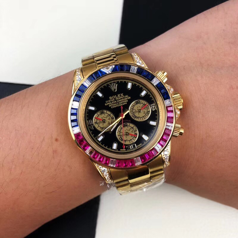 Replica Rolex Black Dial Diamonds Blue&Red Bezel Gold Watch