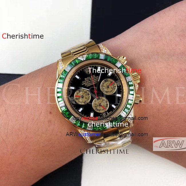 Replica Rolex Black Dial Diamonds Green Bezel Gold Watch