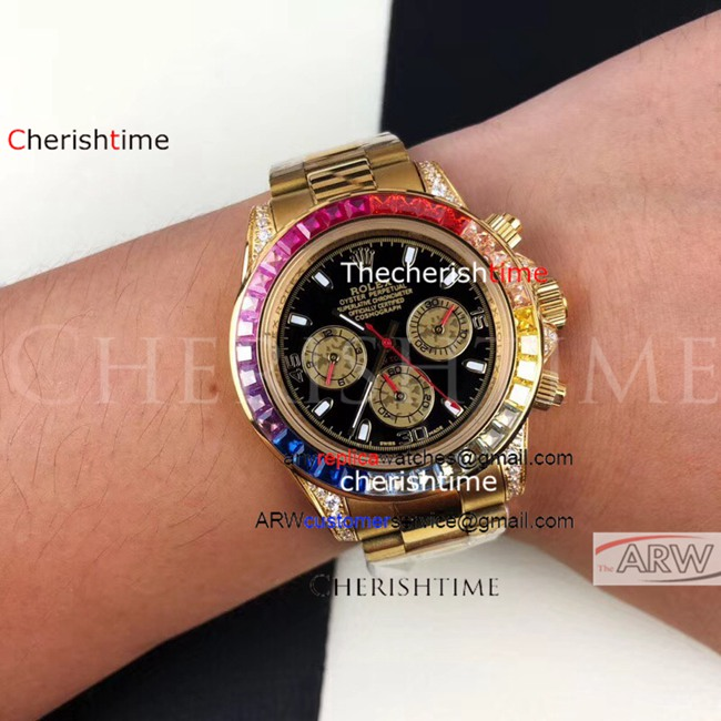 Replica Rolex Black Dial Diamonds Rainbow Bezel Gold Watch