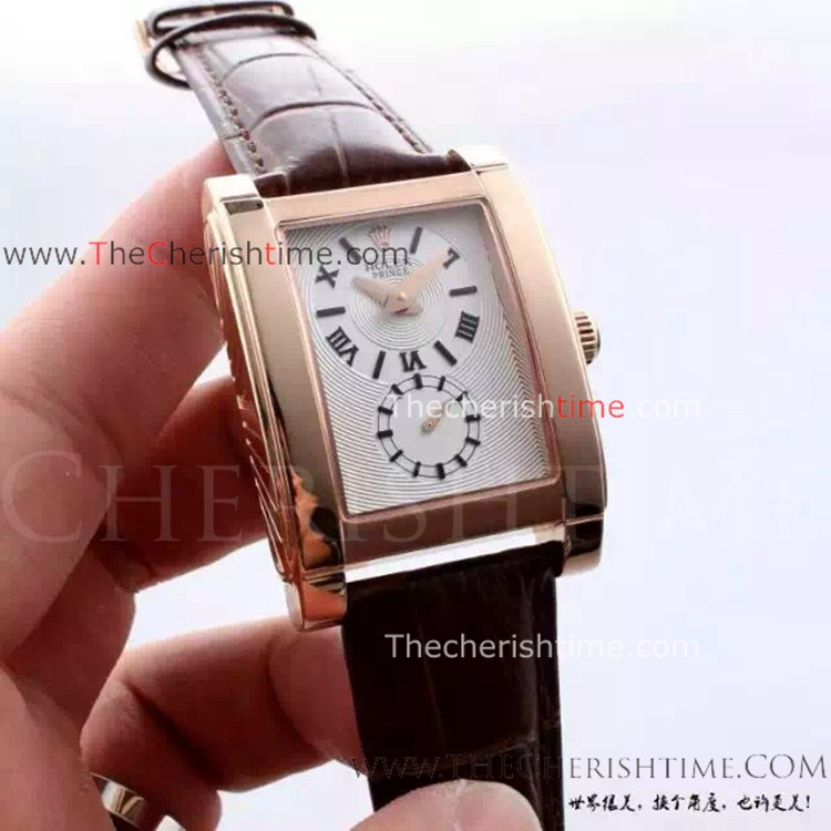 Replica Rolex Cellini Prince Rose Gold Brown Leather Watch