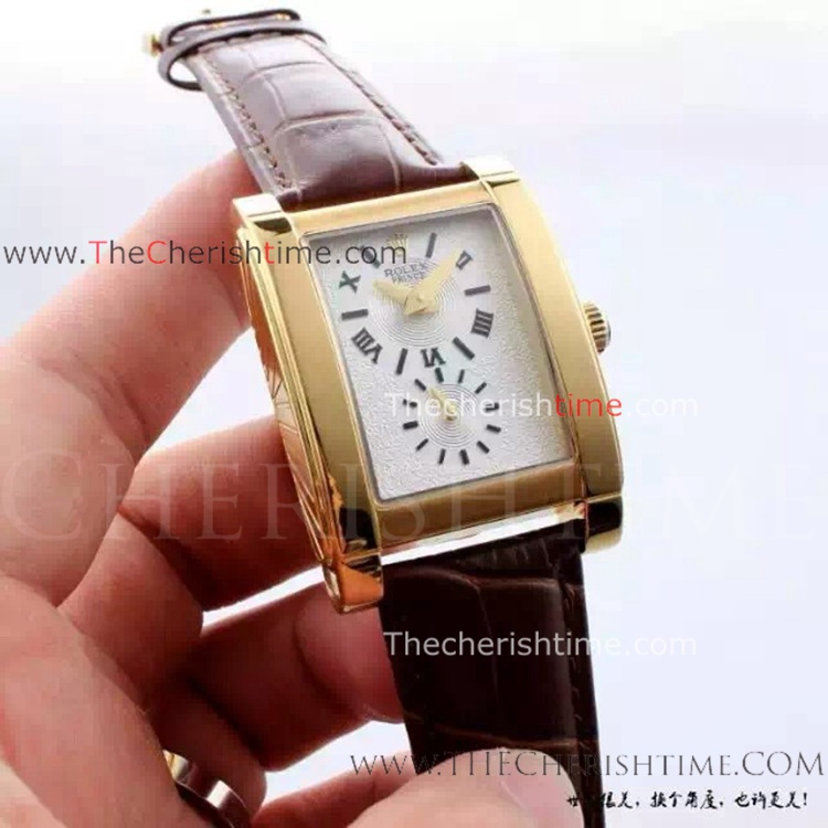 Replica Rolex Cellini Prince Watch Gold Case White Dial
