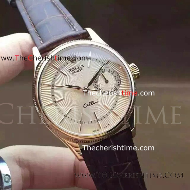 Replica Rolex Cellini SS Brown leather Mens Watch