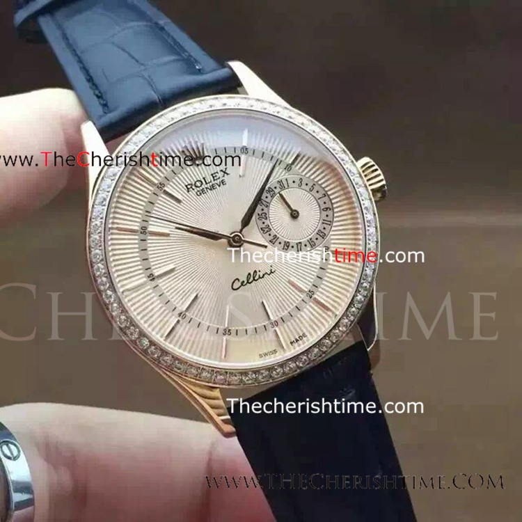 Replica Rolex Cellini Stainless Steel Diamond Bezel Watch