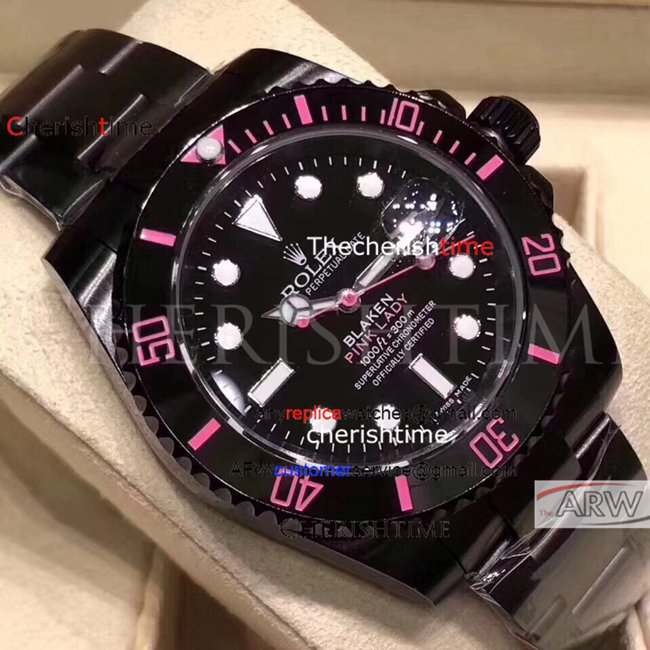 Replica Rolex Pink Scale All Black Case Swiss Ladies Watch