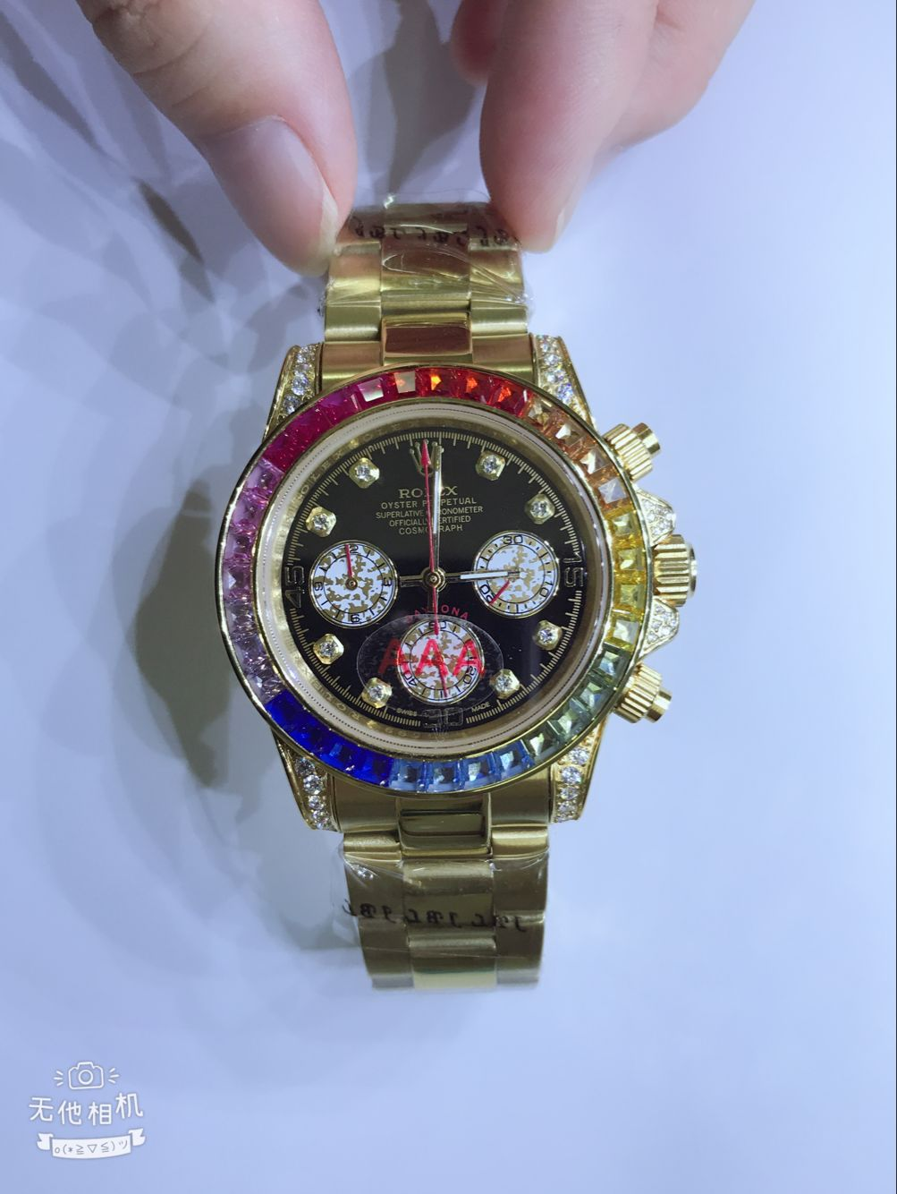 Copy Rolex Rainbow Daytona Black Dial Gold Case Watch