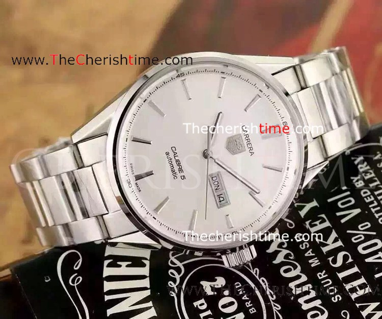 Replica Tag Heuer Carrera Calibre 5 Stainless Steel White Watch