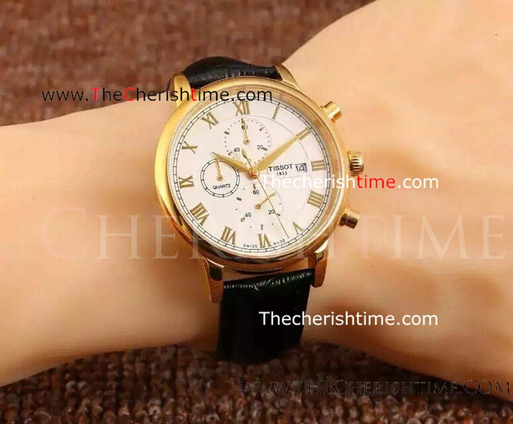 Replica Tissot Yellow Gold White Face Quartz Watch