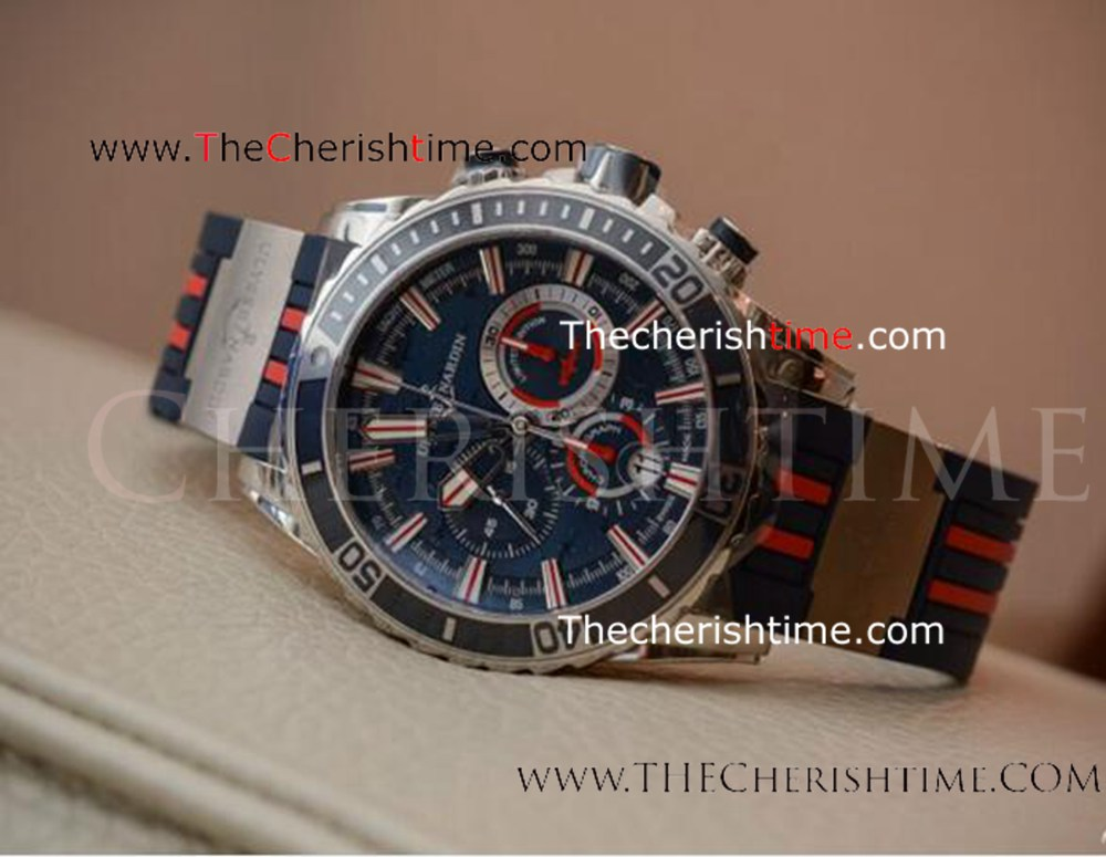 Replica Ulysse Nardin Diver Chronograph Blue&Red Rubber SS Watch