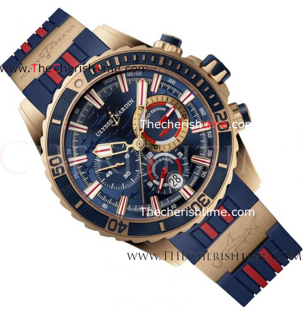 Replica Ulysse Nardin Diver Chronograph Rose Gold Blue Red Rubbe