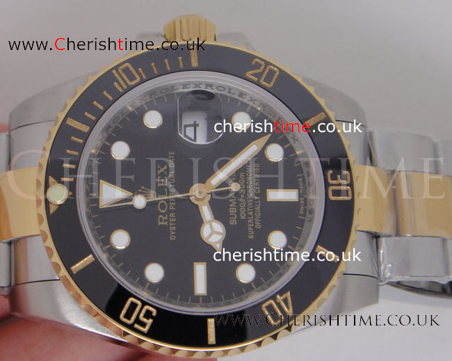 Ceramic Bezel - Rolex Submariner Watch 2-Tone Black 40mm