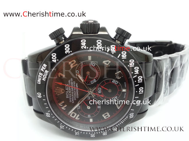 Rolex All Black Daytona Black Face Arabic Markers Red line Watch