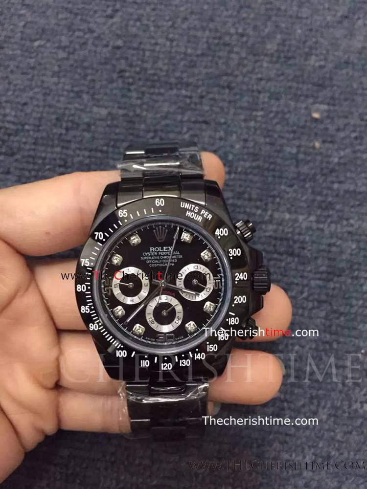 Rolex All Black Daytona DIAMOND Markers Copy Watch