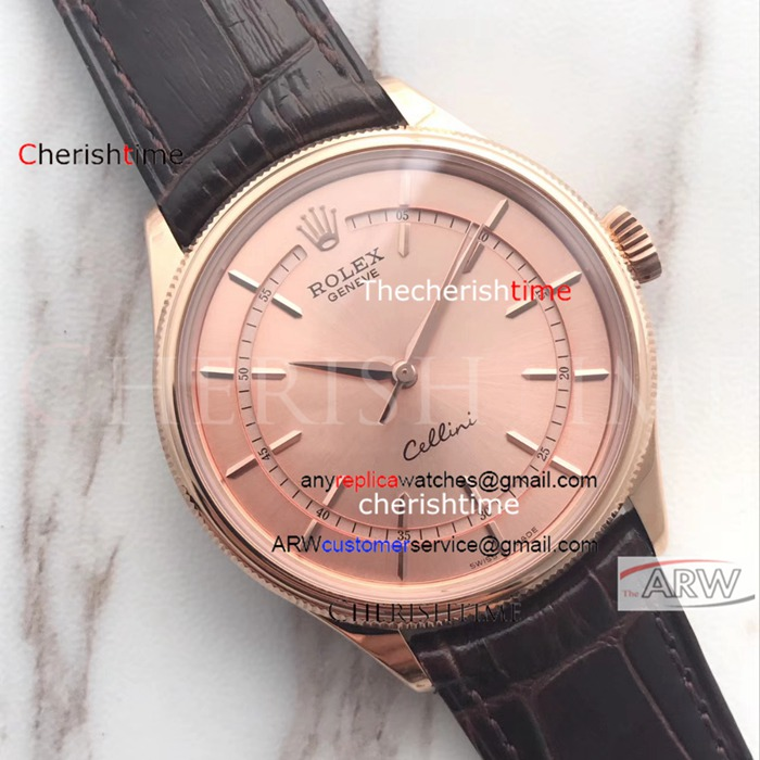 Copy Rolex Rose Gold Dial And Case Brown Band Swiss Watch