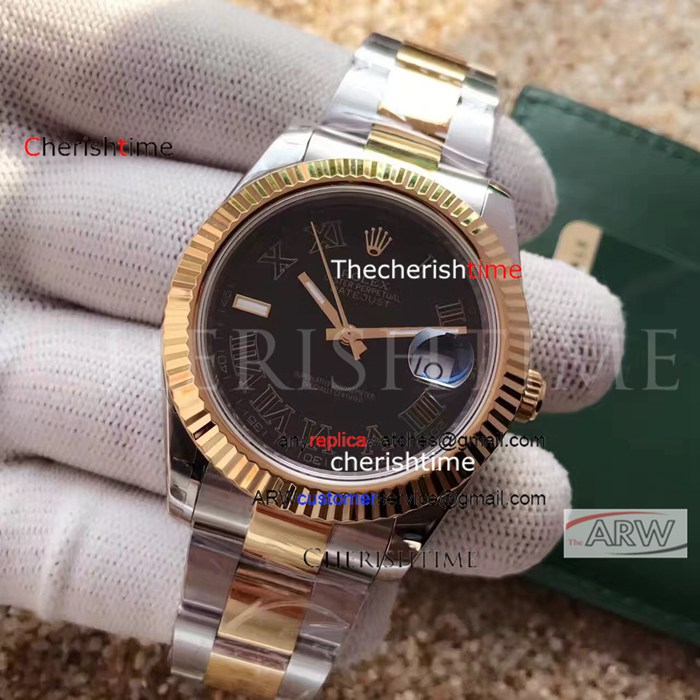 Copy Rolex Black Dial 2-Tone Gold Band Swiss 3136 Movement Watch