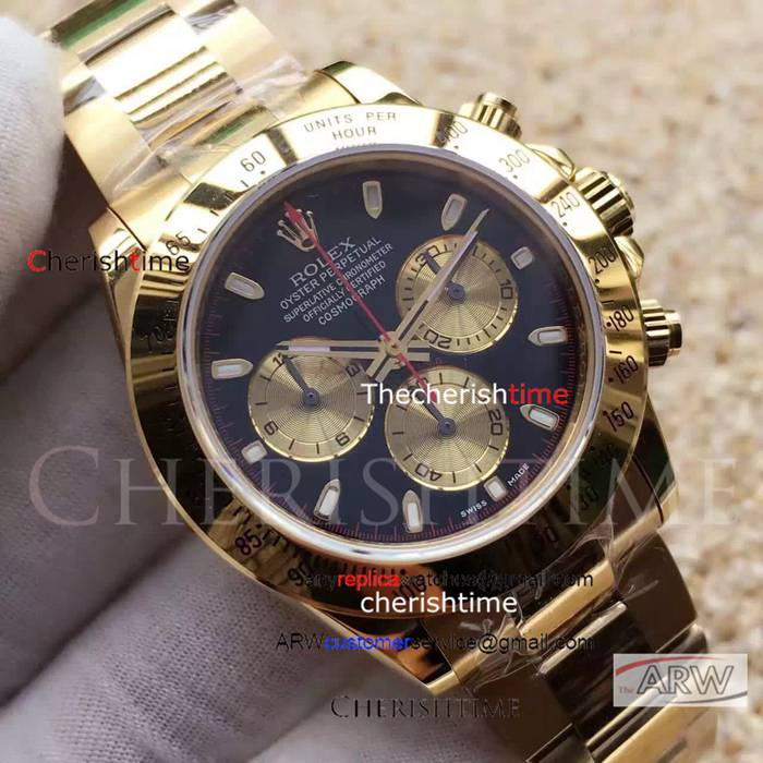 Clone Rolex Black Dial All Gold Case Gold Strap Swiss Watch