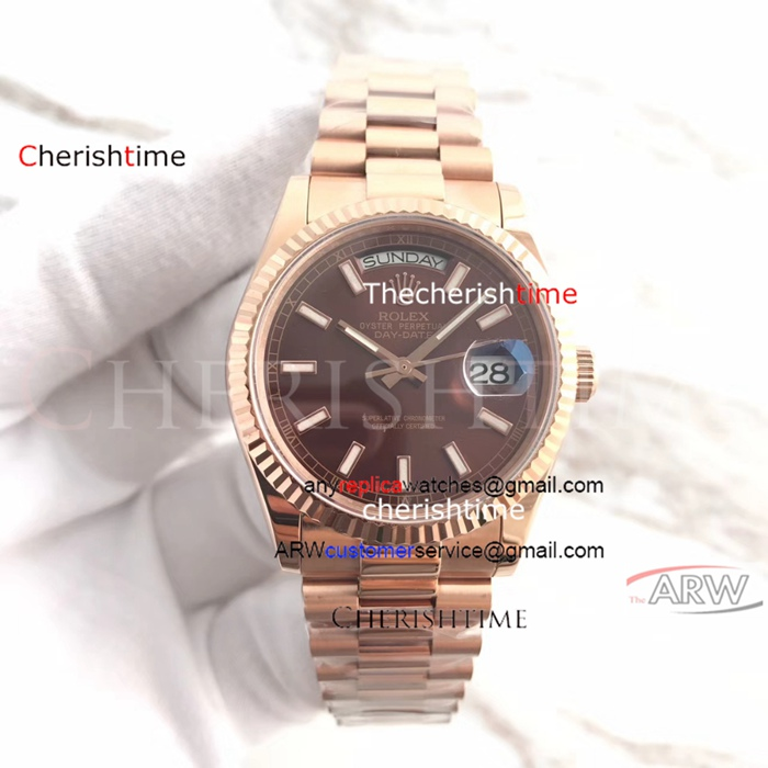 Copy Rolex Brown Dial All Rose Gold Case Swiss Watch