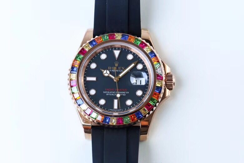 Copy Rolex Blue Dial Colorful Diamond Bezel Rose Gold Case Watch