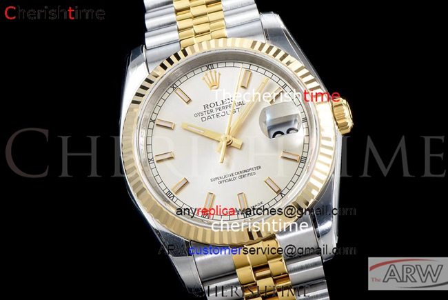 Replica Rolex Datejust Jubilee Watch Cream Dial Carved Watch