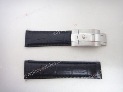 Black Leather strap for Rolex Datejust with silver buckle